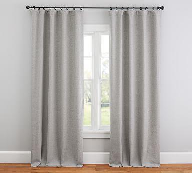 Calhan Tweed Drape Gray Fleck Potterybarn Grey Curtains Tweed Curtains Linen Curtains