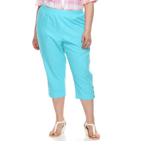 a6a049a50af Plus Size Cathy Daniels Pull On Linen-Blend Capris