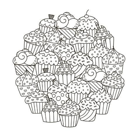 size: 18x12in Poster: Circle Shape Pattern with Cute Cupcakes for Coloring Book. Vector Illustration :