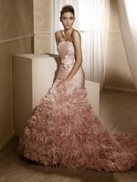 Blush #wedding #gowns are trending this year. Do you dare? Mia Solano Wedding Dresses - Style M1230L - http://thealternativebride.com