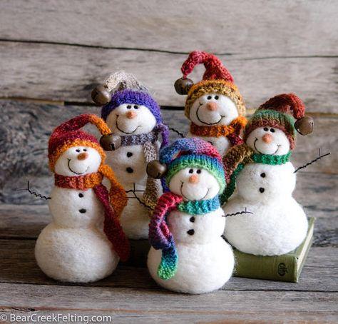 Needle Felt Snowman Needle Felted Snowman Christmas