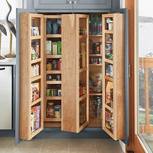 brown wooden corner kitchen pantry cabinet with pull out shelf and double wooden door on ceramics flooring. Inspiring Ideas Corner Kitchen Pantry Cabinet Brings Enchanting Looks