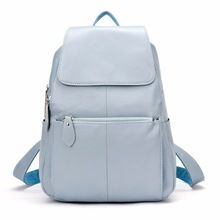 Visit to Buy  ZENCY Backpack Natural Soft Real Leather Backpacks Genuine  First Layer Cow Leather Top Layer Cowhide Women Backpack School Bags ccb6806dd4bc9