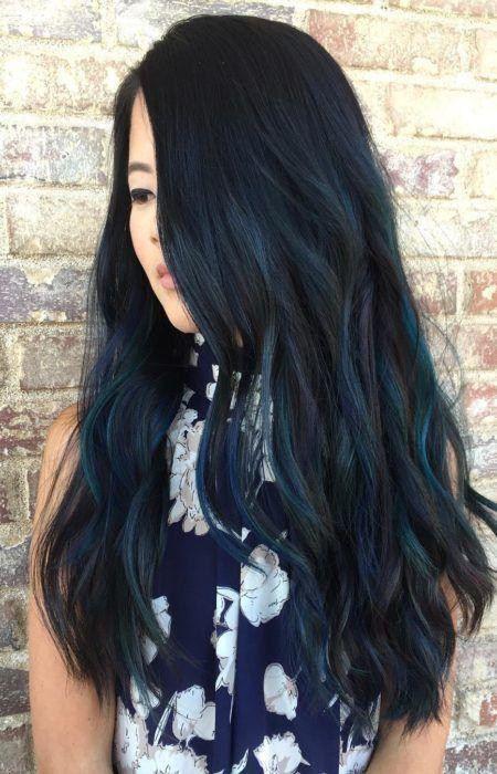 Blau Schwarz Frisur Ideen Schwarzes Haar Bunt Und Blau Schwarze Haare Damen Haare Blaue Strahnchen Haare Schwarz Farben Strahnchen Schwarze Haare
