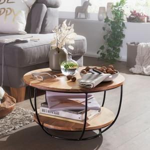Wohnling Couchtisch 60x34 5x60 Cm Akazie Massivholz Metall Sofatisch Design Wohnzimmertisch Rund Stubentisch In 2020 Wohnzimmertische Wohnzimmertisch Sofa Tisch