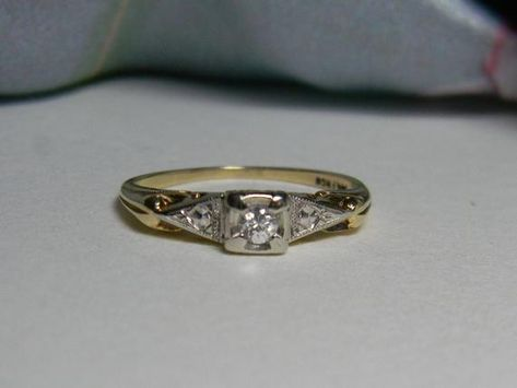 deb56b4e3c95 Art Deco Diamond Engagement Ring Set 14K Art Nouveau Diamond