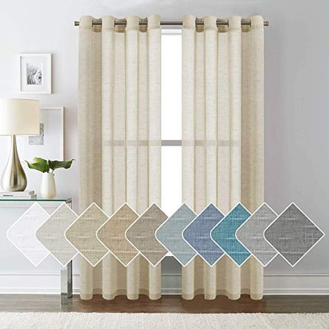 Turquoize Rich Linen Semi Sheer Curtains Beige for Living Room Open Weave Linen