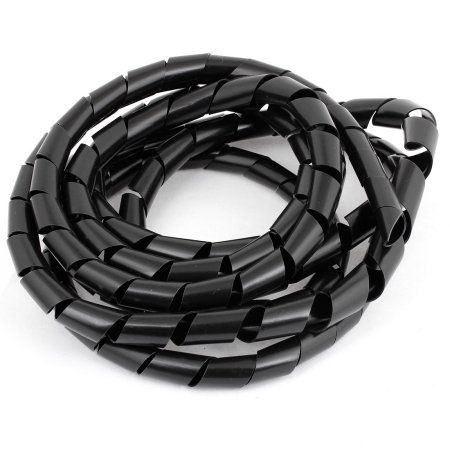 Computer TV Plastic Cable Wire Manager Spiral Wrap Band 15.5 Meter Black