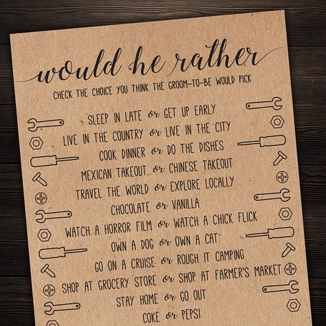 Would He Rather . Would He Rather Wedding Shower Game . Bridal Shower Game . Wedding Shower Game . B
