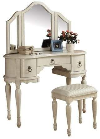 Acme Trini Vanity Desk Stool White Walmart Com In 2020 Bedroom Makeup Vanity Furniture Vanity