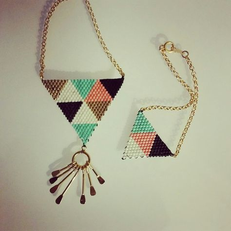 Parure sautoir et bracelet en perles Miyuki, doré, noir, blanc, rose et vert turquoise