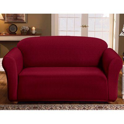 Winston Porter Box Cushion Loveseat Slipcover Loveseat