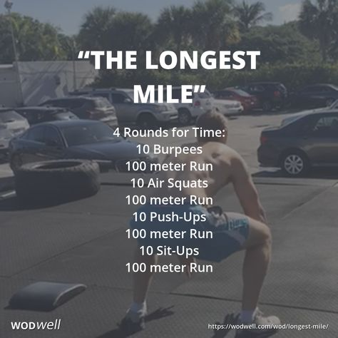 """""""The Longest Mile"""" workout was first posted in the CrossFit Forum by Shane Threlkeld on July It has since been adopted as a benchmark WOD by multiple gyms throughout the CrossFit community. See videos of athletes completing the workout in and at Crossfit Workouts At Home, Wod Workout, Insanity Workout, Track Workout, Running Workouts, Crossfit Forum, Cross Fit Workouts, Box Jump Workout, Murph Workout"""