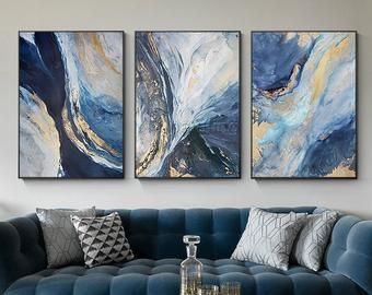 Set Of 2 Wall Art Abstract Floral Paintings On Canvas 2 Pieces Etsy In 2020 Abstract Painting Acrylic 3 Piece Canvas Art Canvas Painting