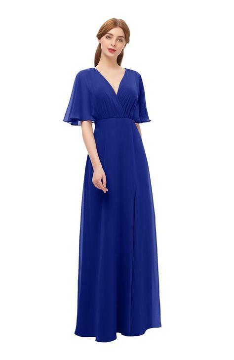 b3da6b84368d ColsBM Dusty Electric Blue Bridesmaid Dresses Pleated Glamorous Zip up Short  Sleeve Floor Length A-line