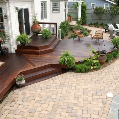 Image Result For Deck And Stone Patio Combination