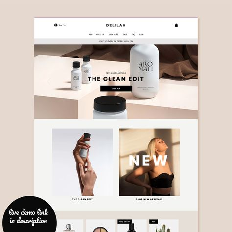 Wix Shopping Website Theme, eCommerce Website Design, Premium, Nude, Template, Small Business, Make up, Fashion, Cosmetics, Custom,Editable