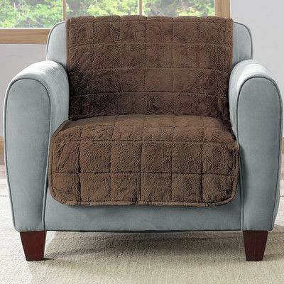 Sure Fit Faux Fur Quilted Armchair Slipcover Upholstery Chocolate