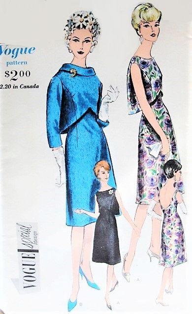 1960s Elegant Party Dinner Dress Pattern Vogue Special Design 4329