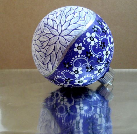 Hand painted Purple and White Christmas Ornament
