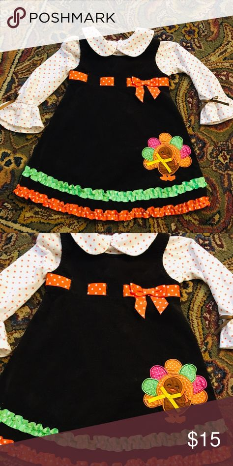 Thanksgiving Dress Set from Holiday Editions 24 mo Adorable Thanksgiving Dress Set from Holiday Editions Size 24 months.  Excellent preowned condition.  Orange and white polka dot shirt is separate from the dark brown corduroy jumper.  So cute!  Great condition. Holiday Editions Matching Sets
