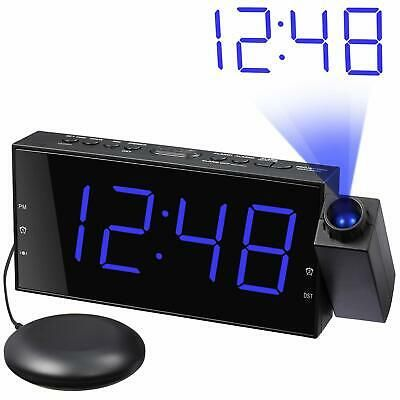 Loud Alarm Clock With Bed Shaker Projector Large Led Display