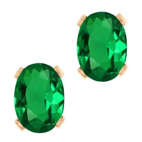 1.72 ct Cushion Cut Green Created Emerald Stud Earrings in 14K Yellow Gold