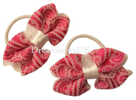 thick hair elastics//bobbles Girls floral lace hair bows,lace hair accessories