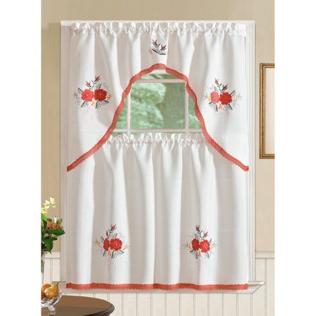 Regal Embroidered Flower Kitchen Curtain Set Walmart Com In 2021 Kitchen Curtains Kitchen Curtain Sets Fabric Trimmings