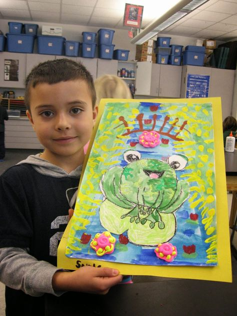 """Jamestown Elementary Art Blog: 2/26/14. """"1st Grade Claude MOnet Frogs in Ponds."""" Cutest lesson ever! Drawing, painting, cutting, gluing -this project has it all! From Phillipe in Monet's Garden. (I have this book and can attest to how clever it is - great illustrations. Fun rhyming - kids love it!)"""