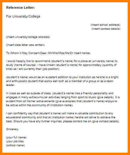 Letter Of Recommendation For A Student Academic Reference