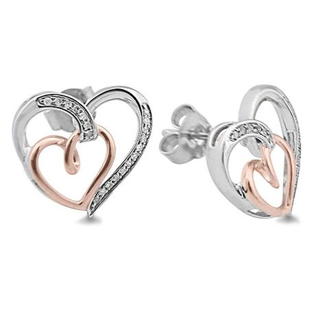 Diamond Heart Earrings in Sterling Silver and 10k Rose Gold (1/10 cttw). Romantic Diamond Double Heart Earrings in Rhodium Plated Sterling Silver and 10k Rose Gold 1/10 Carat Total Diamond Weight - 38 Round Diamonds (HI Color, I2-I3 Clarity) Earrings Are Approximately 5/8 x 5/8 Inch Earrings Have a Post and Pressure Back Comes in a Lovely Grey Gift Box with a Jewelry Polishing Cloth
