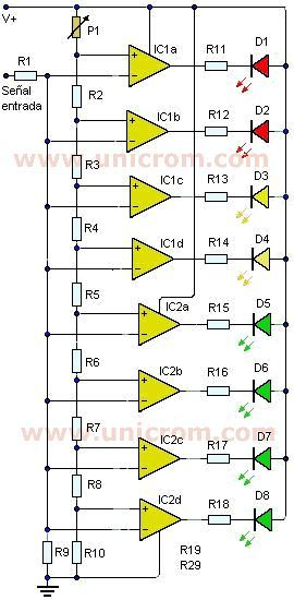 v�metro de 8 led con lm324 vu meters in 2019 electronic lm324 audio amplifier circuits simple vu meter circuit using lm358
