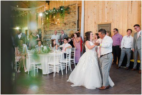Father daughter dance in barn | Oak Hills Utah Dusty Rose and Gray Summer Wedding | Jessie and Dallin Photography #utahwedding #utahsummerwedding #summerwedding #mountainwedding #rockymountainwedding #blushandgraywedding #blushandgray #oakhillsutah #utahweddingvenue