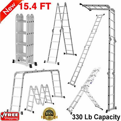 Ad Ebay 15 4ft Aluminum Telescopic Extension Folding Multi Use Heavy Duty Ladder 330 Lbs Step Ladders Locking Hinge Folding Ladder