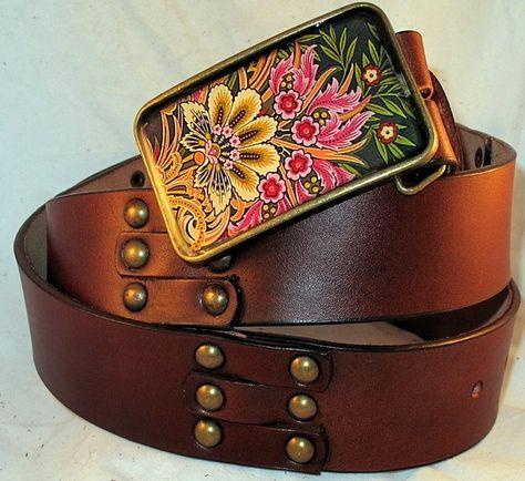 biker. cowboy BijouxModefashion Fibbia per cintura floreale dorata stile western country music