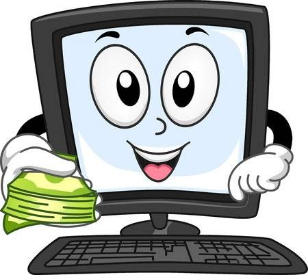 Mascot Ilustracion De Un Monitor De Ordenador Con Una Pila De Efectivo Actividades Ludicas Para Ninos Monitor Imagenes Para Decorar Cuadernos