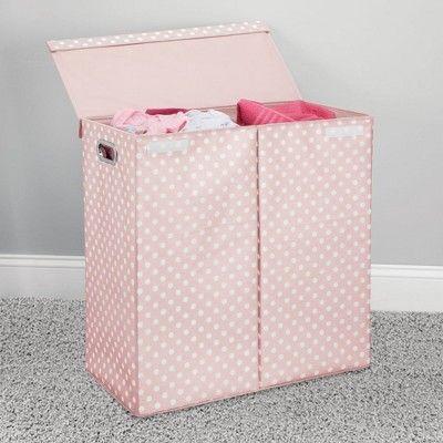Mdesign X Large Divided Laundry Hamper Basket Lid Polka Dot