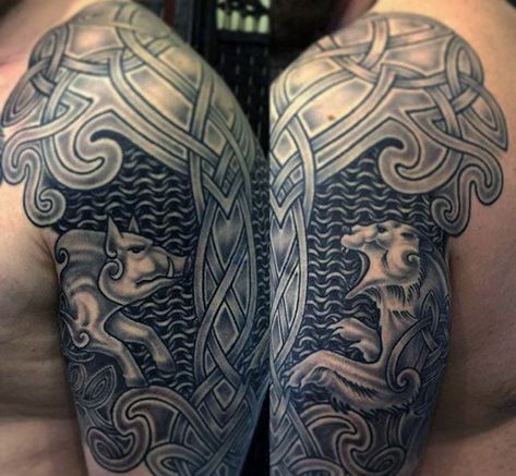37c3205c5 Chain Mail Mens Celtic Knot Shoulder And Half Sleeve Tattoo