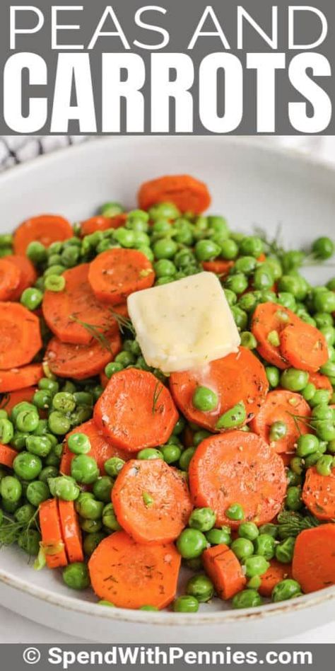 Buttery peas and carrots are sweet and tender and they take just minutes to make. Use frozen peas and fresh carrots for the best results. #spendwithpennies #peasandcarrots #sidedish #recipe #frozen #sauteed #dill #stovetop #easy #buttery #best
