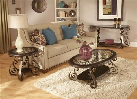 Bombay Old World Dark Cherry Metal Glass Coffee Table Set | Tables ...