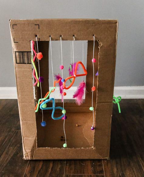 cat toys DIY Cardboard Cat Play Box via Charleston - cat Homemade Cat Toys, Diy Cat Toys, Diy Animal Toys, Cardboard Cat House, Diy Cardboard, Diy Pour Chien, Diy Jouet Pour Chat, Diy Karton, Cat House Diy