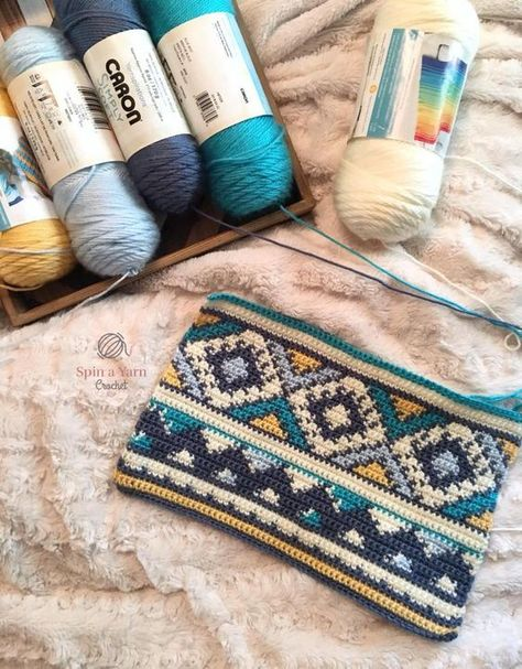 """Partially completed panel - Ideas In Crafting Aztec Throw Pillow Free Crochet Pattern Way out of my wheelhouse as far as """"easy"""" as I am a rank beginner, but it is such a gorgeous pattern! Double Trouble Crochet Blanket is one of the most beautiful bla"""