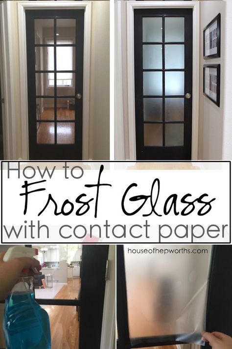 How to FROST GLASS with contact paper. Looks great and is removable. Tutorial at www.houseofhepwor… How to FROST GLASS with contact paper. Looks great and is removable. Tutorial at www. Diy Window, Frosted Glass, Frosted Glass Pantry Door, Frosted Glass Diy, Diy Home Improvement, Diy Door, Frosted Glass Door, Glass Door, Contact Paper