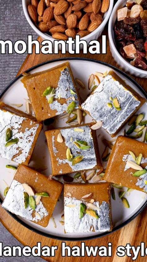 mohanthal recipe | halwai style mohanthal sweet | mohanthal mithai with detailed photo and video recipe. a traditional and authentic besan flour-based sweet recipe known for its creamy and richness. it is a popular besan based barfi recipe from the state of gujarat and is prepared especially during the festival season and occasion. it shares the same shape and texture of a besan barfi, yet it does carry its own unique and creamy taste in each bite.