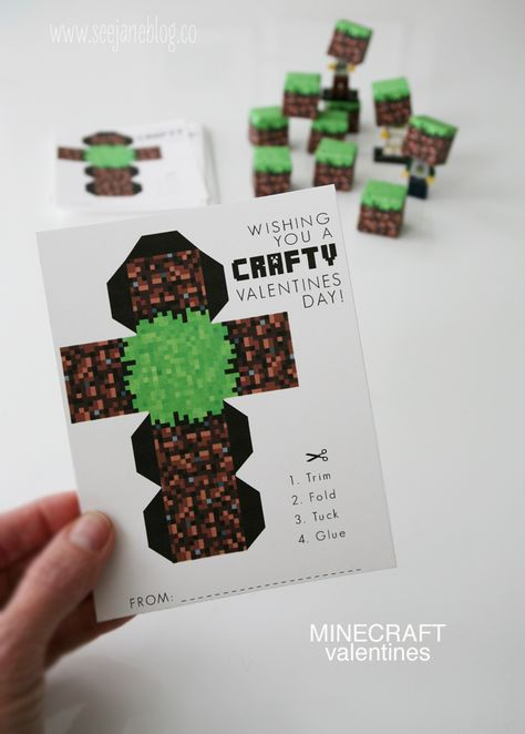 minecraft valentines + free printable! From See Jane Blog www.seejaneblog.co  AJ loves minecraft, so we're doing this great free printable for his class valentine!