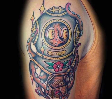 35 American Traditional Chest Tattoos,  #American #Chest #octopustattooformendesign #tattoos ...
