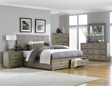 Abbott Driftwood Platform Bed W Drawers By Homelegance Bedroom