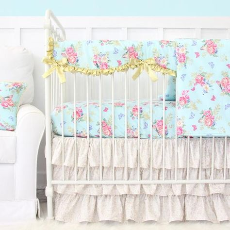 Emma S Blue Gold Fl Perless Baby Bedding Collection