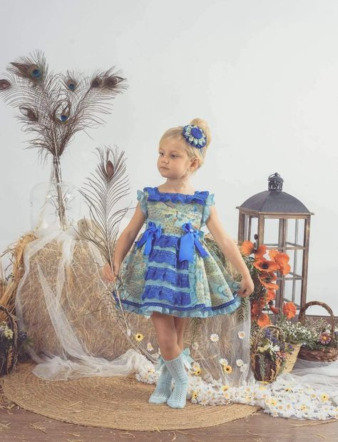 Stunning neon blue print dress & headpiece Jasmine by Lolattes for Summer 21. In-stock now for immediate delivery.